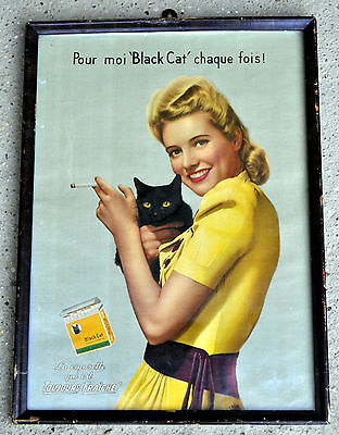 BLACK CAT cigarette French Canadien vintage Tobacco advertising BARBARA STANWYCK