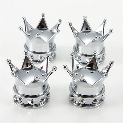 4pcs Set Universal Crown Style Car Tire Air Valve Stems Cover Caps Wheel Rims