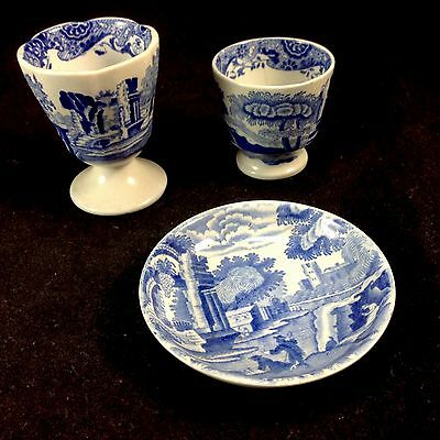 Set of 3 Copeland Spode Italian Blue Egg Cups, Small Pin Dish Lot