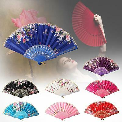 Lace Silk Flower Folding Hand Held Dance Fan Party Wedding Women Gift BX