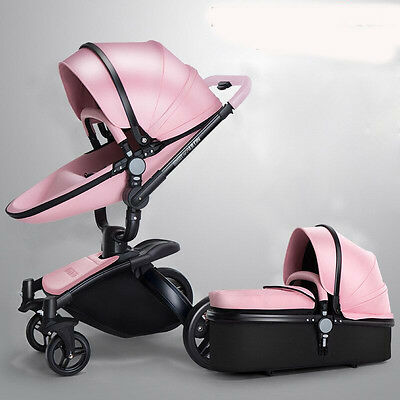 Pram Baby Stroller leather 3 in 1 Carriage Infant Travel Car Foldable Pushchair