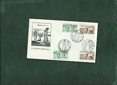 Turkey 1957 Bergama stamps on First Day Cover FDC with 3 different postmarks