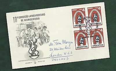 Argentina 1963 Neurosurgery stamp block of 4 on illustrated FDC to England