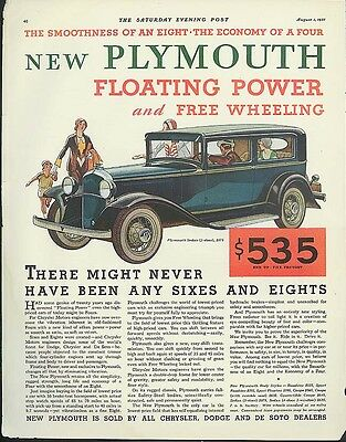 There might never have been any sixes & eights Plymouth ad 1931