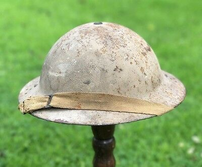 Ww2 Home Guard Steel Helmet Complete, Liner & Strap Experiment.rare Rolled Edge.