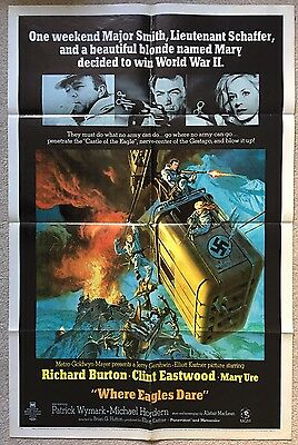 Where Eagles Dare Original One Sheet Poster From 1968 - Folded