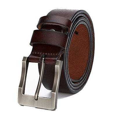 """2 Color 47"""" New Fashion Genuine Leather Mens Handmade Square Silver Buckle Belt"""