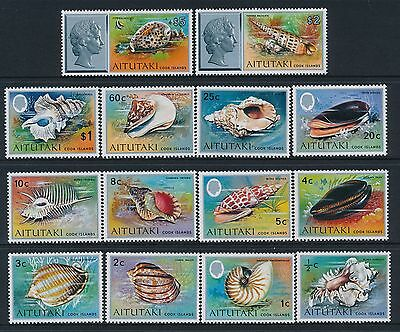 1974 AITUTAKI SHELLS DEFINITIVES COMPLETE SET OF 14 FINE MINT MNH/MUH ½c-$5