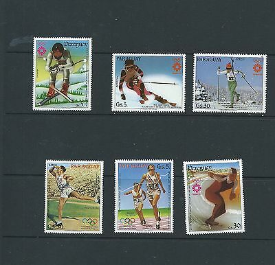 Paraguay 1984 Sarajevo Winter Olympics 6 different Medal winners stamps MNH