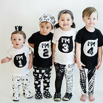 Family Matching Baby Boys Girls Kids Birthday Cotton Top T shirt Outfits Clothes