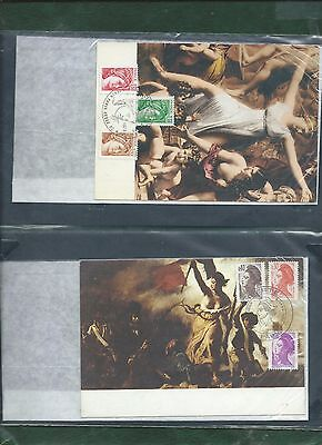 France Marianne stamps on 4 cards and FDC