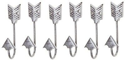 SIX Metal Decorative Wall Hooks: Silver Bent Iron Arrow Wall Hook (hat / coat)