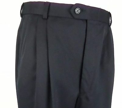 Vtg Dark Blue Pleated Wool Turn Up Trousers 80s does 40s / 50s  W33 EA76