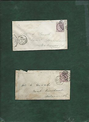 GB Great Britain Queen Victoria stamps used on 2 covers (b)