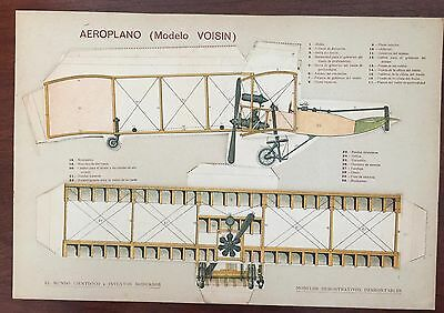VOISIN PLANE biplane aircraft. Original Old TOY cardboard collage 4 levels 1900s