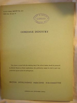 British Intelligence Report German Cordage Social Economic History