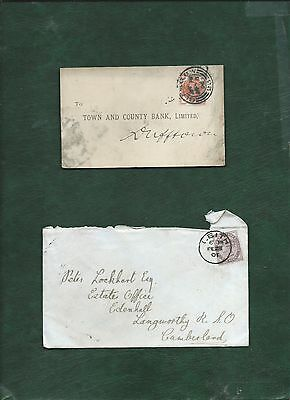 GB Great Britain Queen Victoria old used stamps on 2 covers (d)