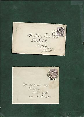 GB Great Britain Queen Victoria old used stamps on 2 covers (f)