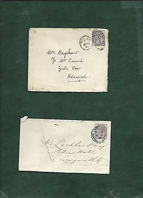 GB Great Britain Queen Victoria old used stamps on 2 covers (g)