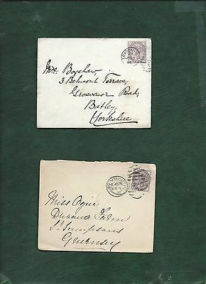 GB Great Britain Queen Victoria old used stamps on 2 covers (m)
