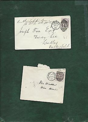 GB Great Britain Queen Victoria old used stamps on 2 covers (n)