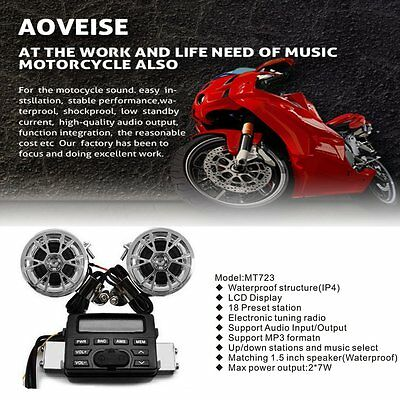 Delicate Motorcycle Audio FM Radio System Amplifier Sound Speaker Anti-theft HT