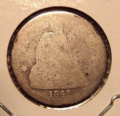 1842 Seated Silver Dime Nice Circulated Coin Very Well Worn