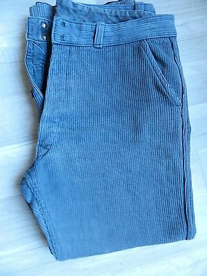 Ancien Pantalon De Travail En Coton Molletonne Gris #barbe Bleue#france