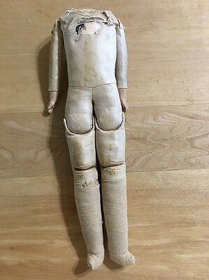 Old Oil Cloth German Doll Body- Lower Composition Arms, Partial Label