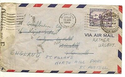 Br Guiana 1944 Censored Cover to UK