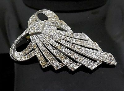 Older Vintage Rhinestone Clip Circa 1930s - Marked Made In USA