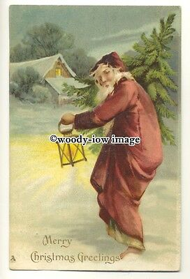 su2705 - Embossed Father Christmas , Santa with Lantern - postcard Tuck's