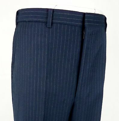 Vtg Blue Pinstripe Wool Flat Front Smart Trousers W33 EA83