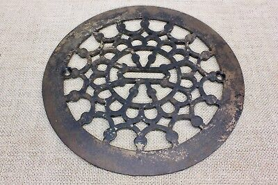"Heat & Air conditioning grate only register round 9 1/4"" old wreath clean iron"