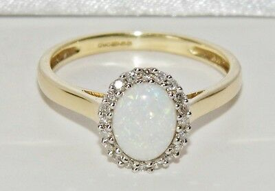 Beautiful 9ct Yellow Gold Natural Opal & Diamond Ladies Cluster Ring - size P