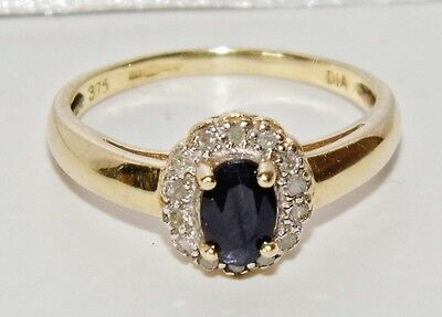 9ct Yellow Gold Blue Sapphire & Diamond Ladies Cluster Ring - size M