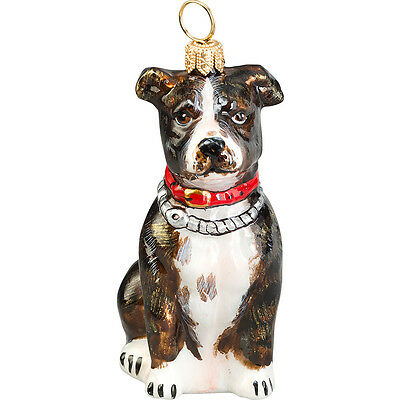 American Staffordshire Terrier Brindle Dog Glass Polish Christmas Ornament