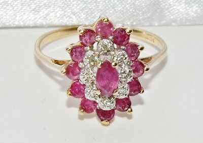 9ct Yellow Gold Ruby & Diamond Marquise Cluster Ring - size L