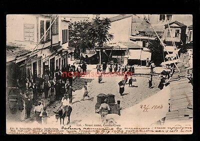 GREECE CRETE CANDIA ANIMATED STREET SCENE R. Behaeddin POSTCARD 1908 - 20