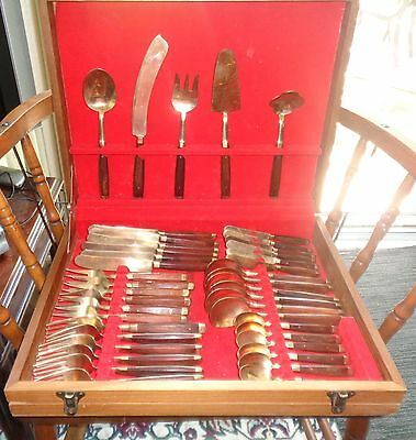 Vintage Brass and wood flatware set in box 79 pieces knives forks spoons