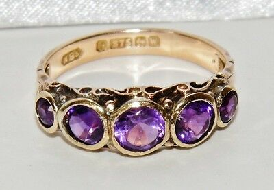 Art Deco 9ct Yellow Gold Amethyst 5 Stone Eternity Ring - size Q - CIRCA 1921