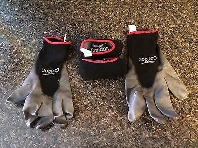 3 pairs Grainger Condor 3/4 Coated Polyurethane Gloves Work Utility garden small