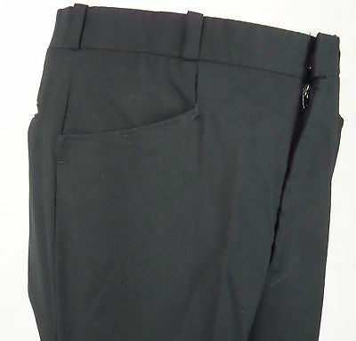Vtg 1970s Black Wool Blend Straight Leg Frogmouth Trousers Mod W34 EA86