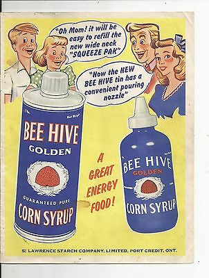 Bee Hive Corn Syrup Durham Ivory Starch St Lawrence Oil 1950's Advertising