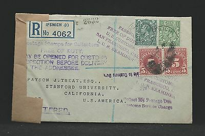 GB: 1932 Registered Cover to USA, Customs Opened, Official Seal & 10c Due