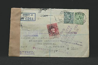 GB: 1933 Registered Stamp Dealer Cover to USA, 2c Postage Due, Official Seal