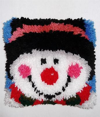 Snowman Winter Christmas Finished Kit Completed Hooked Cute Latch Hook Pillow