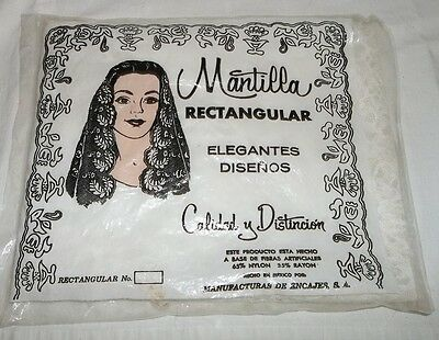 Vintage White Lace Mantilla Rectangular In Pack Nylon Rayon Made in Mexico