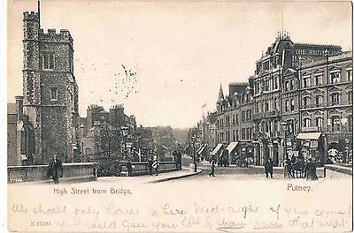 London - Ppc - High Street From The Bridge, Putney, Sw. London, 1906