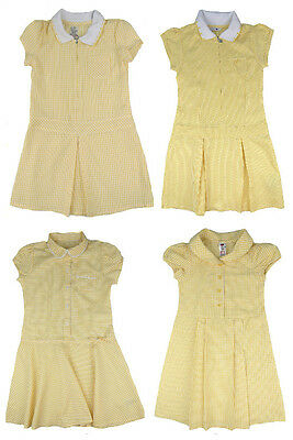 Girls School Dress Yellow Gingham Summer 2-3y to 8-9y Ex Store Choice of Styles